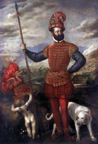 Titian Man in Military Costume - Hand Painted Oil Painting