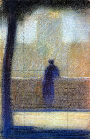 Georges Seurat Man Leaning on a Parapet - Hand Painted Oil Painting