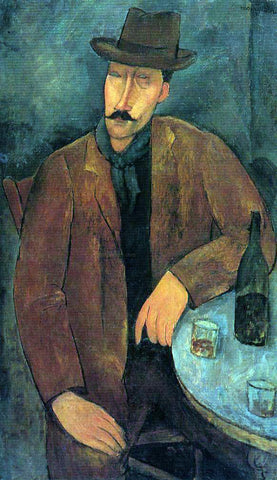Amedeo Modigliani Man with a Glass of Wine - Hand Painted Oil Painting