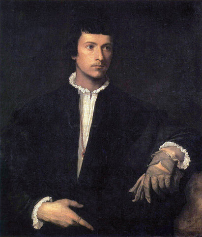 Titian Man With a Glove - Hand Painted Oil Painting