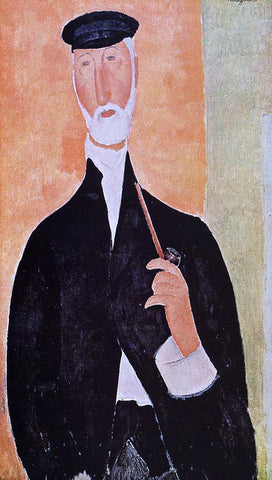 Amedeo Modigliani Man with a Pipe (also known as The Notary of Nice) - Hand Painted Oil Painting
