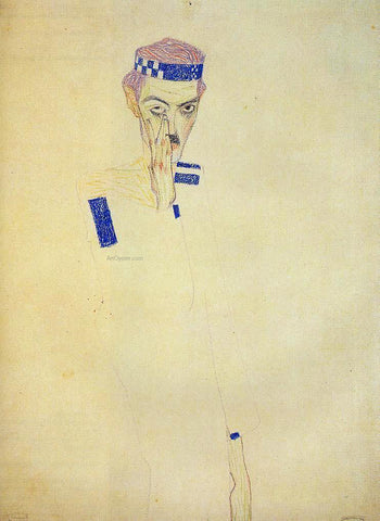 Egon Schiele Man with Blue Headband and Hand on Cheek - Hand Painted Oil Painting