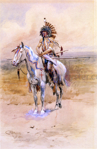 Charles Marion Russell Mandan Warrior - Hand Painted Oil Painting