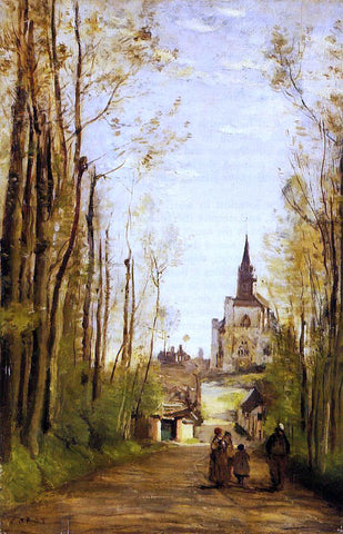 Jean-Baptiste-Camille Corot Marissal, Path to the Front of the Church - Hand Painted Oil Painting