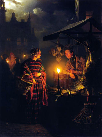 Petrus Van Schendel Market Place by Candlelight - Hand Painted Oil Painting