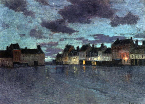 Fritz Thaulow Marketplace in Dieppe, After a Rainstorm - Hand Painted Oil Painting