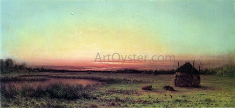 Martin Johnson Heade Marsh Scene: Two Cattle in a Field - Hand Painted Oil Painting