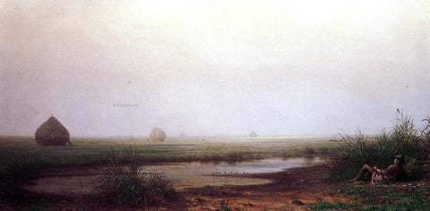 Martin Johnson Heade Marsh with a Hunter - Hand Painted Oil Painting