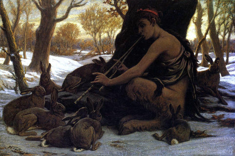 Elihu Vedder Marsyas Enchanting the Hares - Hand Painted Oil Painting