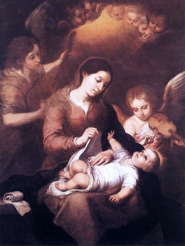 Bartolome Esteban Murillo Mary and Child with Angels Playing Music - Hand Painted Oil Painting