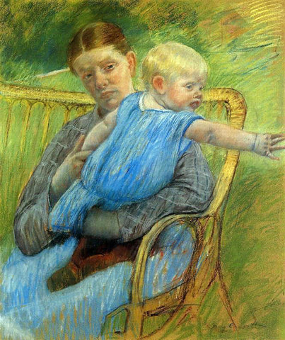 Mary Cassatt Mathilde Holding a Baby Who Reaches out to the Right - Hand Painted Oil Painting