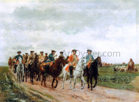 Jean-Louis Ernest Meissonier Maurice, Comte de Saxe Leading His Troops - Hand Painted Oil Painting