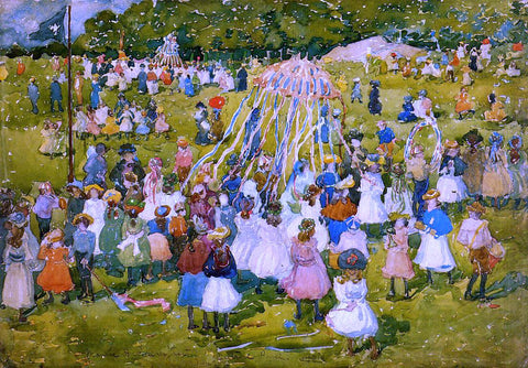 Maurice Prendergast A May Day, Central Park - Hand Painted Oil Painting