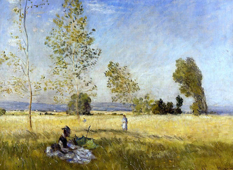 Claude Oscar Monet Meadow at Bezons - Hand Painted Oil Painting