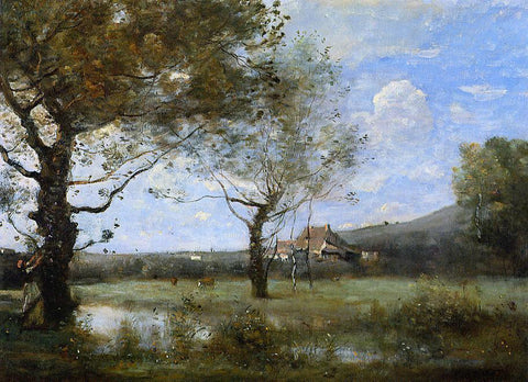 Jean-Baptiste-Camille Corot Meadow with Two Large Trees - Hand Painted Oil Painting