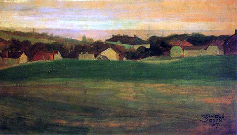 Egon Schiele Meadow with Village in Background II - Hand Painted Oil Painting