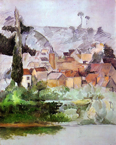 Paul Cezanne Medan: Chateau and Village - Hand Painted Oil Painting
