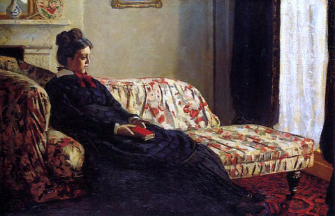 Claude Oscar Monet Meditation, Madame Monet Sitting on a Sofa - Hand Painted Oil Painting