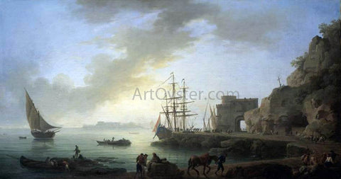 Claude-Joseph Vernet Mediterranean Port at Dawn - Hand Painted Oil Painting