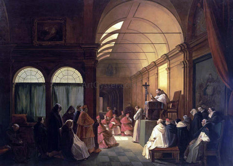 Francois-Marius Granet Meeting of the Monastic Chapter - Hand Painted Oil Painting