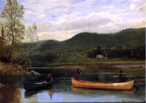 Albert Bierstadt Men in Two Canoes - Hand Painted Oil Painting