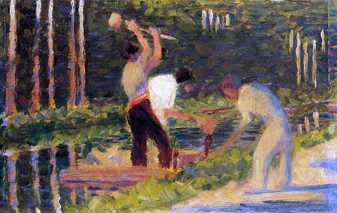Georges Seurat Men Laying Stakes - Hand Painted Oil Painting