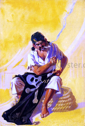 Frank Xavier Leyendecker Mending the Pirate Flag - Hand Painted Oil Painting