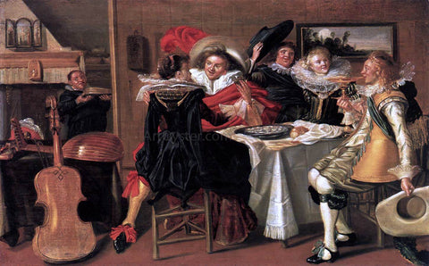 Dirck Hals Merry Company at Table - Hand Painted Oil Painting