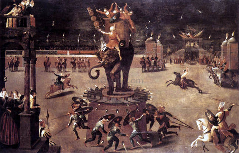 Antoine Caron Merry-Go-Round with Elephant - Hand Painted Oil Painting