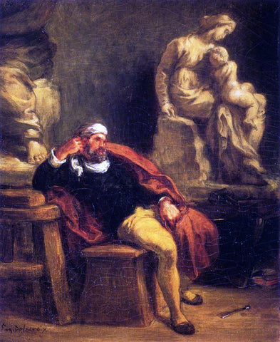Eugene Delacroix Michelangelo in His Studio - Hand Painted Oil Painting