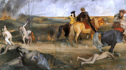 Edgar Degas Medieval War Scene - Hand Painted Oil Painting