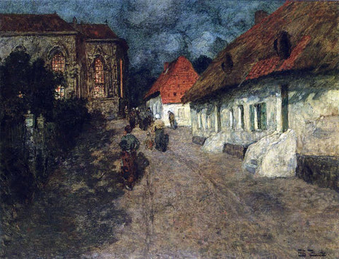 Fritz Thaulow Midnight Mass - Hand Painted Oil Painting