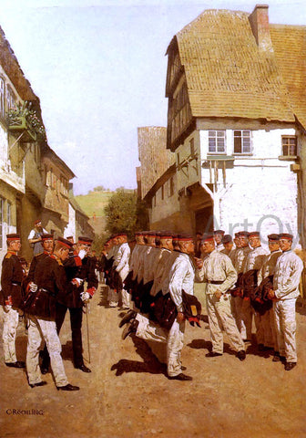 Carl Rochling Military Cadets Preparing For Parade - Hand Painted Oil Painting