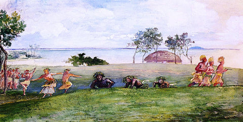 John La Farge Military Reception and War-Dance in Our Honor at Sapapali, Samoa - Hand Painted Oil Painting