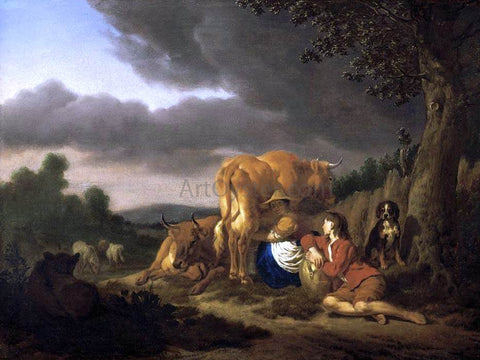 Adriaen Van de Velde Milking a Cow - Hand Painted Oil Painting