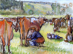 Camille Pissarro Milking Cows - Hand Painted Oil Painting