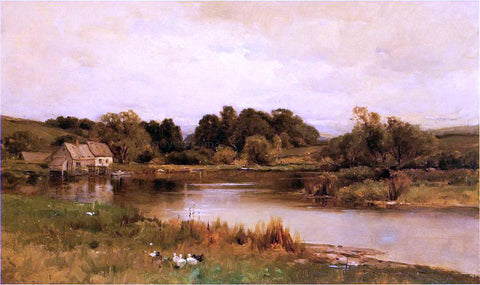 George Henry Smillie Mill Pond at Ridgefield, Connecticut - Hand Painted Oil Painting