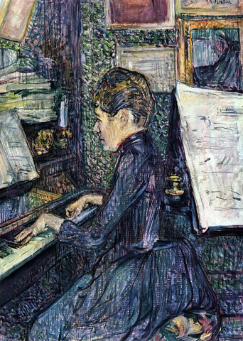 Henri De Toulouse-Lautrec Mille. Dihau Playing the Piano - Hand Painted Oil Painting