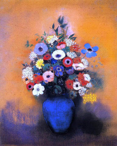 Odilon Redon Minosas, Anemonies and Leaves in a Blue Vase - Hand Painted Oil Painting