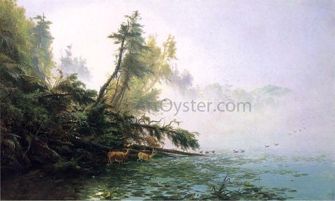 James McDougal Hart Misty Morning on Racket Lake - Hand Painted Oil Painting