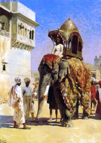 Edwin Lord Weeks A Mogul's Elephant - Hand Painted Oil Painting
