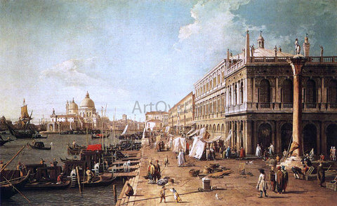 Canaletto Molo with the Library (also known as Molo Looking Towards the Zecca) - Hand Painted Oil Painting