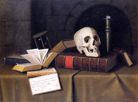 "William Michael Harnett Momento Mori, ""To This Favour"" - Hand Painted Oil Painting"