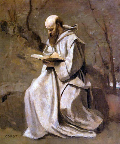 Jean-Baptiste-Camille Corot Monk in White, Seated, Reading - Hand Painted Oil Painting