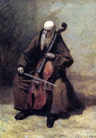 Jean-Baptiste-Camille Corot Monk with a Cello - Hand Painted Oil Painting