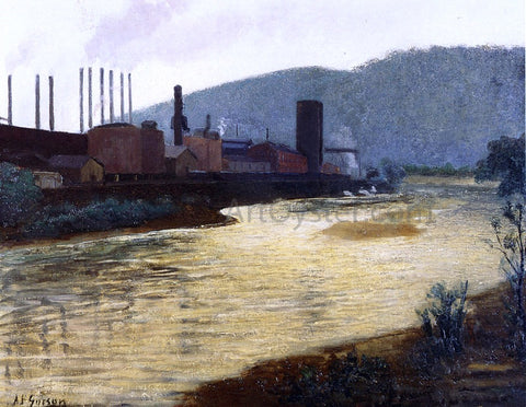 Aaron Harry Gorson Monongahela River, Pittsburgh, Jones and Laughlin Steel Plant - Hand Painted Oil Painting