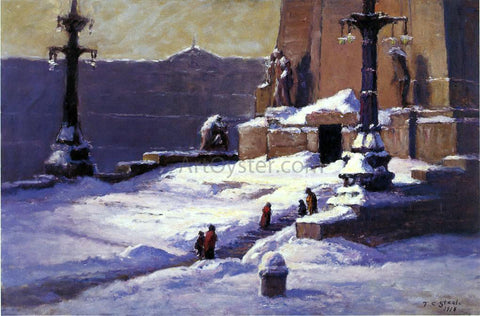 Theodore Clement Steele Monument in the Snow - Hand Painted Oil Painting
