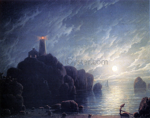 Robert Salmon Moonlight and Lighthouse - Hand Painted Oil Painting