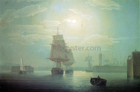 Robert Salmon Moonlight over Whitehaven Harbor, England - Hand Painted Oil Painting