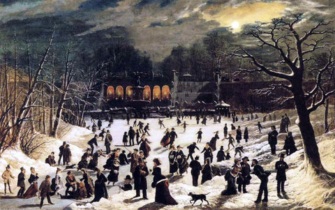 John OBrien Inman Moonlight Skating, Central Park, the Terrace and Lake - Hand Painted Oil Painting